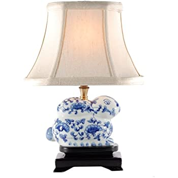 Small Blue Amp White Porcelain Bunny Table Lamp Small