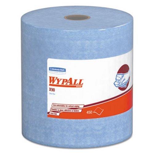 Kimberly-Clark Apparel 12889 Professional WYPALL X90 11.1'' x 13.4'' White Heavy Duty Cloth, English, 15.34 fl. oz., Plastic, 1'' x 1'' x 1'' (450 Sheets Per Jumbo Roll, 1 Roll Per Case)