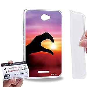 Case88 [Sony Xperia E4 / E4 Dual] Gel TPU Phone case & Warranty Card - Art Fashion Sunset Left Hand