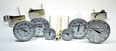 "Thermco 5 3/4"" Laboratory Bi-Metal Dial Thermometers - 8"" Stems, Lexan Lens -100/40c X 1.0c"