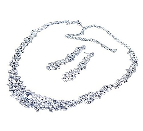 UNKE Crystal Wedding Bridal Jewelry Necklace+earrings Classic Jewelry Wedding Accessory Set