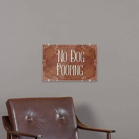 CGSignLab 27x18 Victorian Card Premium Brushed Aluminum Sign 5-Pack No Dog Pooping