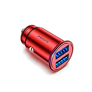 AINOPE Car Charger, 4.8A All Metal Car Charger Adapter Dual USB Port Fast Car Charging Mini Flush Fit Compatible with Xs max/XR/x/7/6s, Air 2/Mini 3, Note 9/Galaxy S10/S9/S8, Phone, Tablet-Red