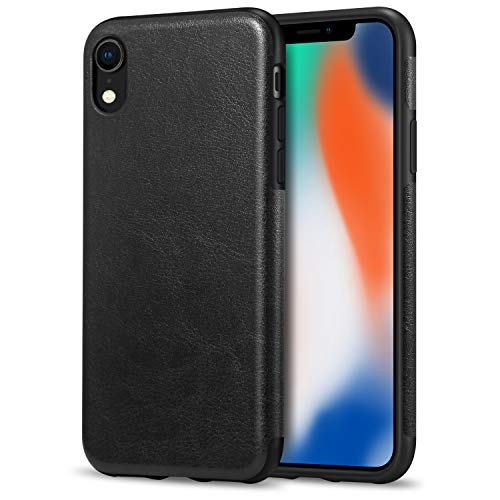 (TENDLIN Compatible with iPhone XR Case Premium Leather Outside and Flexible TPU Silicone Hybrid Slim Case Compatible with iPhone XR - 2018 (Black))