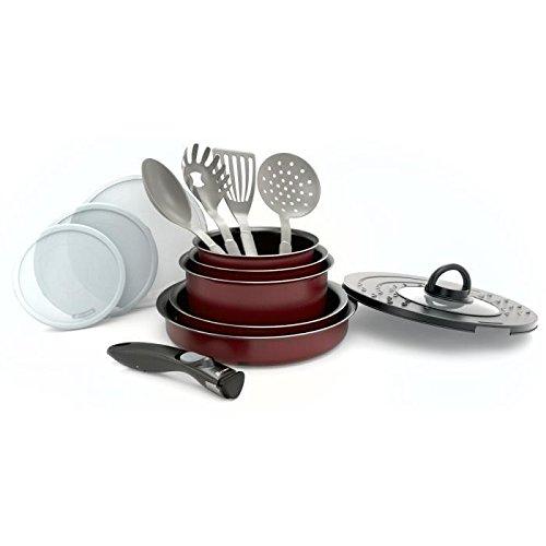Akku-Küche 14Pieces + abnehmbarer Griff rot