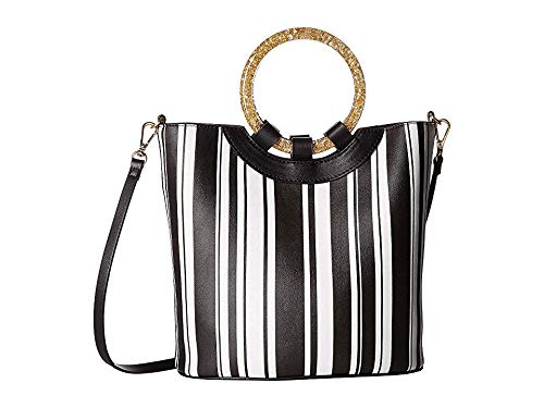 - Betsey Johnson Women's Confetti Rings Medium Bucket Bag Stripe One Size