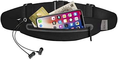 REALIKE Running Belt Waist Sport Pack Bag with Zipper Pocket Pouch Funny Bag with Reflective Adjustable Strip Fit for iPhone Xs max, Xr, Suitable for Cycling, Hiking, Climbing and Outdoor Sport.