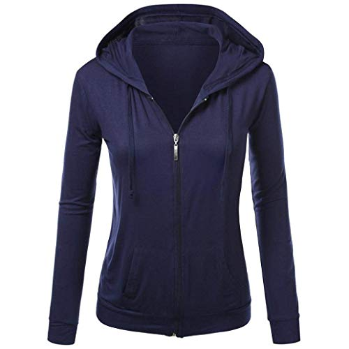 (Bon Soir Women's Jacket Hoodies, Ladies Hoodie Zip Sweatshirt Womens Coat Casual Hoody Hooded Hoody Jackets(Navy-Large))