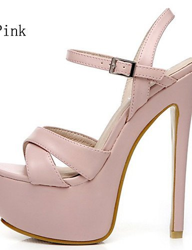 ShangYi Womens Shoes Leather Stiletto Heel Heels / Platform Sandals Dress / Casual Black / Blue / Pink Black