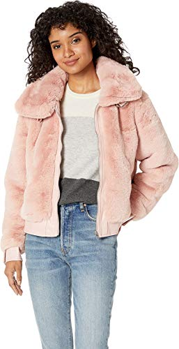 ([BLANKNYC] Blank Denim Women's Faux Fur and Vegan Leather Bomber Jacket, Internet Hobo, Pink, X-Small)