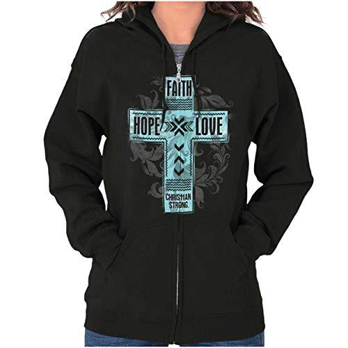 Faith Hope Love Lord Jesus Christian Christ Zip Hoodie Black