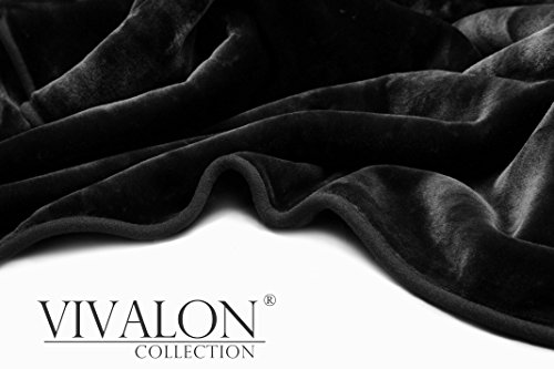 VIVALON Solid Color Ultra Silky Soft Heavy Duty Quality Korean Mink Reversible Blanket 9 lbs King Black