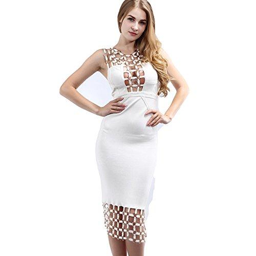 SHUNDEYI Women Dresses Rayon Hollow Cut Out U Neck Sleeveless Bandage Dress White Ladies Sexy Bodycon Strech Party Dress at Amazon Womens Clothing store: