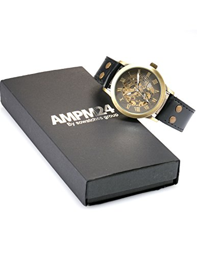 AMPM24 Men's Steampunk Bronze Skeleton Self-Winding Auto Mechanical Leather Wrist Wacth 8