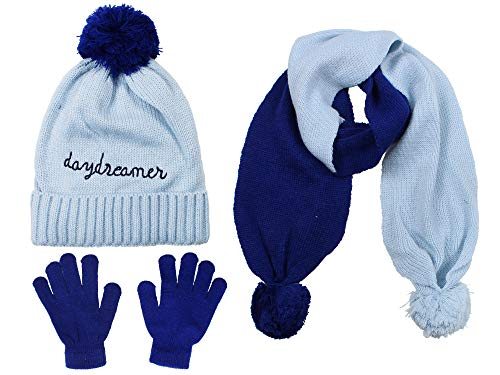 S.W.A.K Girls Knit Hat, Scarf And Gloves Set- Blue/Navy (Navy Blue Knitted Scarf)