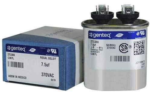 Genteq GENTEQ - C307L / 27L566 Fast Shipping! GE Capacitor Oval 7.5 uf MFD 370 Volt 27L566, 27L566S(Replaces Old GE# 97F9001, Z97F9001, 97F9001BX & 27L566BZ3), 7.5 MFD at 370 Volts