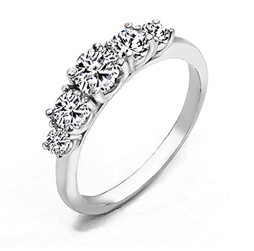 Realistic Top Grade 5 Stones Simulated Diamond Ring Stackable Solid 925 Silver 5ston6 (Round Tacori Ring Diamond)