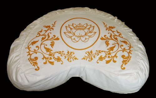 Boon Decor Meditation Cushion Crescent Zafu Purity Collection Lotus Ivory/Gold ()