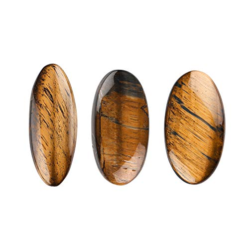 Jaguar Gems Natural Tiger Eye Oval Shape Cabochons Gemstone and Crystals, DIY Jewelry Making Supplies, Tiger Eye Gems
