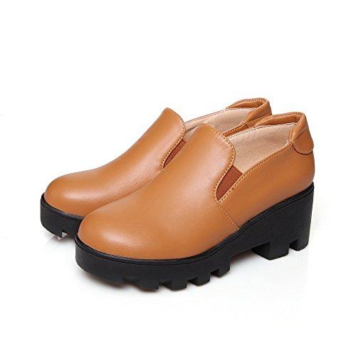 VogueZone009 Damen Ziehen auf Mittler Absatz PU Leder Rein Rund Zehe Pumps Schuhe Gelb