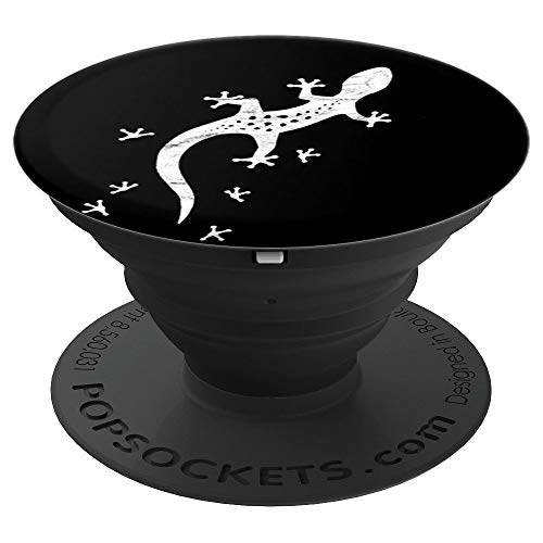 Retro Lizard Drawing With Tracks | Leopard-Gecko PopSockets Grip and Stand for Phones and Tablets