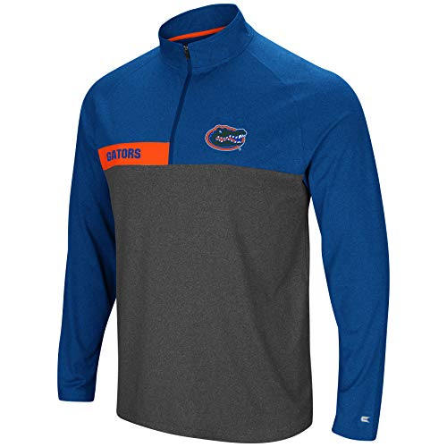 Colosseum Men's NCAA-No Mercy-1/4 Zip Pullover Windshirt-Florida Gators-Heather Blue-Large