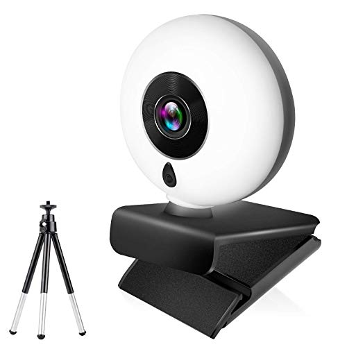 Webcam with Microphone for Desktop, 1080P HD Streaming Webcam Plug and Play, PC Laptop Web Camera with 360-Degree Rotating and Adjustable Ring Light, Web Computer Camera for Zoom Skype Facetime