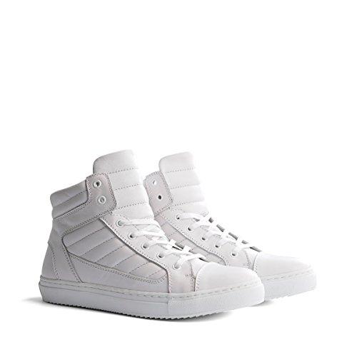 Travelin Nice Leather Mittelhohe Damen Sneaker Leder | Schnürhalbschuhe Women | Freizeitschuhe in Weiss 42 EU