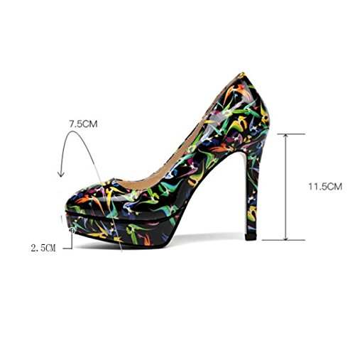 Wedding Dress Court Toe Printing High Round Pump Shoes Sexy Green Shoes With Stiletto Shoes Shallow Party Heel Women's Heels Fashion Tqwazf