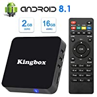 Kingbox Android TV Box 8.1, 2018 Newest K2 Android Box with 2GB RAM 16GB ROM Quad-Core Support WiFi/3D/4K/H.265 Smart TV Box