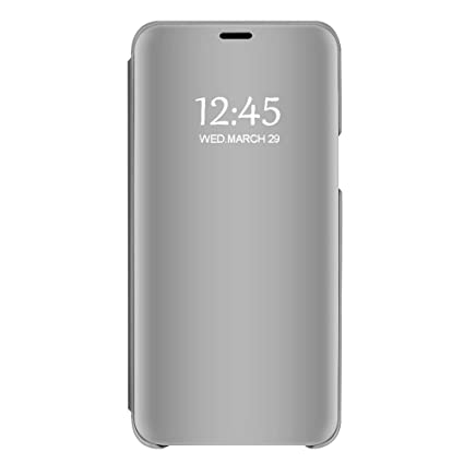 Case Compatible Samsung Galaxy A50 A30 Case Clear View Mirror Flip Folio with Stand Shockproof Protective Cover for Samsung Galaxy A10 (Silver, ...
