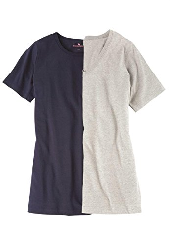 Women's Plus Size Soft Cotton Tee 2-Pack Navy Heather Grey Pack,4X