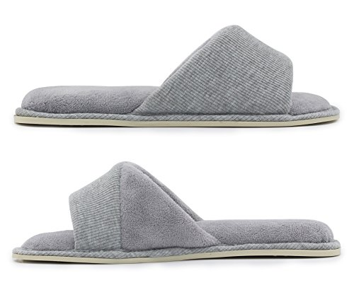 HomeIdeas Shoes Memory Slippers Toe Spring Indoor Lining Comfy Open Summer Foam House with Gray Slide Women's Terrycloth Velvet OwOrq4a