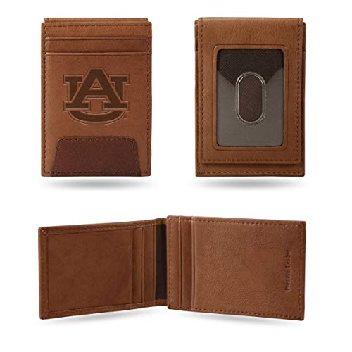 - Rico Industries, Inc. Auburn Tigers Premium Brown Leather Money Clip Front Pocket Wallet Embossed University of