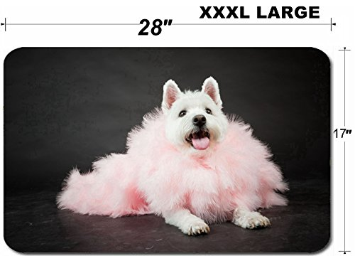 Liili Large Table Mat Non-Slip Natural Rubber Desk Pads White Westhighland westie terrier with pink boa isolated on black background Photo (Best Liili Nature Boas)