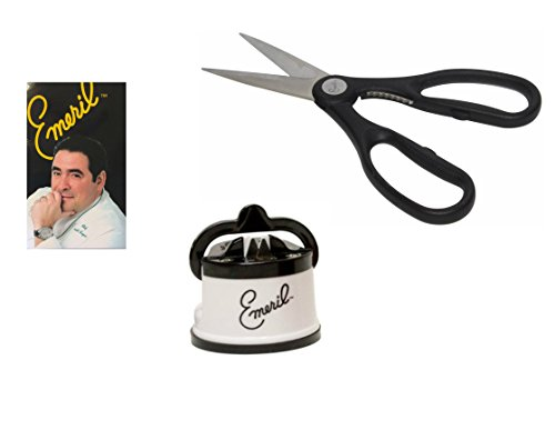 Emeril Knife Sharpener with Suction Pad, White, and Emeril Shears Kitchen Scissors Stainless Steel Blades, Black, Cutlery Accessories