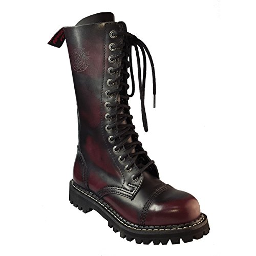 hebilla de de Punk Angry Puntera Color Borgoña Cuero Acero Militares Hoyos Rojo Itch Botas 14 x6qwnB6O