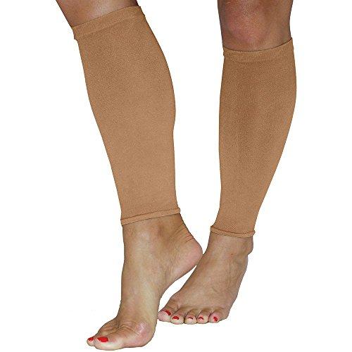 Mmhg Sleeve (A.M.P.S Women's Calf 20-30 Mmhg Compression Sleeve Small Dark Beige)