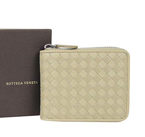 Bottega Veneta Unisex Zip Around Tan Leather Woven Wallet With Coin Pocket 122809 2903