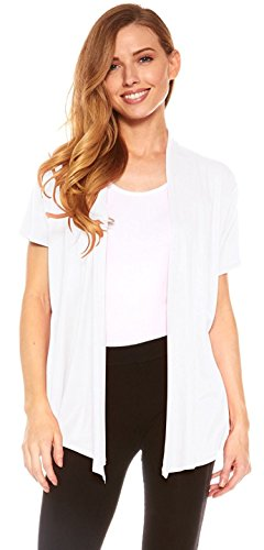 Red Hanger Cardigans for Women - Short Sleeve Womens Open Cardigan Sweaters (White-XL) - Jersey Short Sleeve Sweater