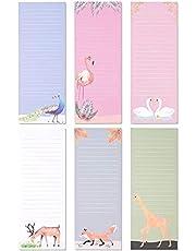 6-Pack magnetische To-Do-List notitieblokken, boodschappenlijst, 6 dierlijke ontwerpen, 60 vellen per pad, 9 x 3,5 inch