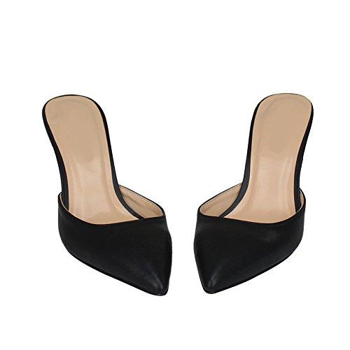 fereshte Women's Men's Pointed Toe Slip On Stiletto Sandals Open Back Mid Heels Sandals Black 40-6 UK 3bmW9