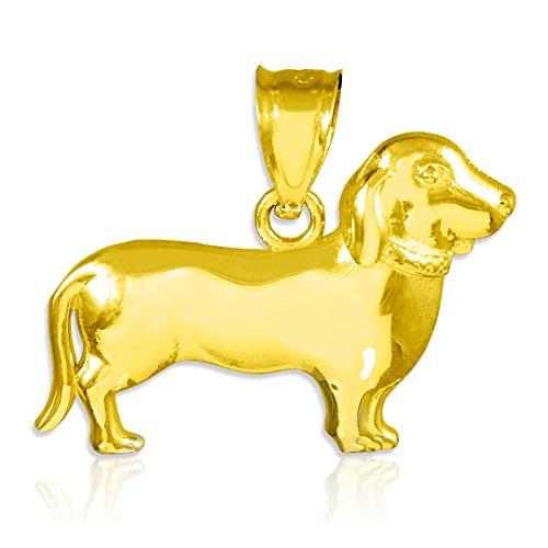 Polished 10k Yellow Gold Weiner Dog Charm Dachshund Pendant