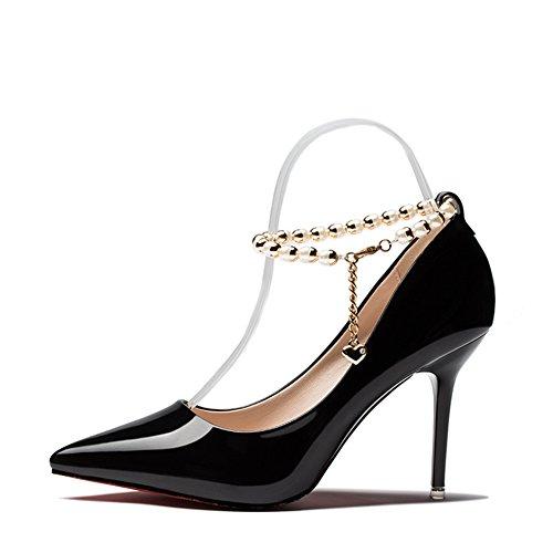 Hoxekle Vrouwen Sexy Hoge Hakken Stiletto Pumps Lente Mode Nieuw Element Schoenen Sieraden Ontwerp Zwart