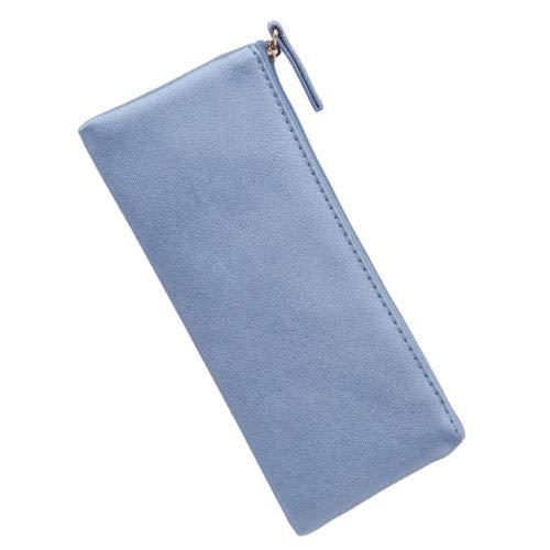 (Soft PU Leather Bags Zipper Pencil Case Storage Organizer Stationery Holder (Colors - Blue))