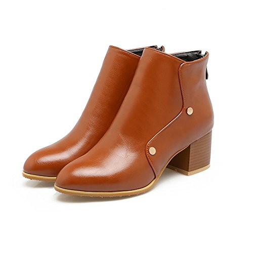 Toe nbsp; Leather nbsp;Lining Pointed AdeeSu Velvet Heels Womens SXC02678 Chunky Brown Boots 0qTIT4