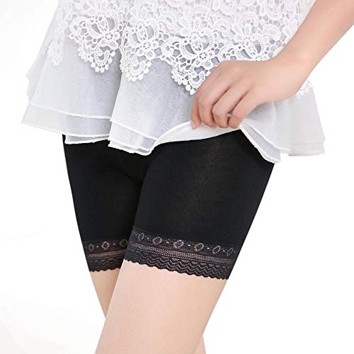 POQOQ Underwear Pants Women Fashion Lace Tiered Skirts Safety Shorts S Black