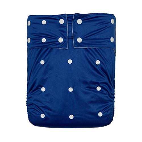 Kawaii Baby Washable Adult Pocket Nappy Cover Close-Fitting Adjustable Reusable Diaper Cloth for Incontinence Care Protective Underwear, Suitable for Men Women Teen(Navy Blue)