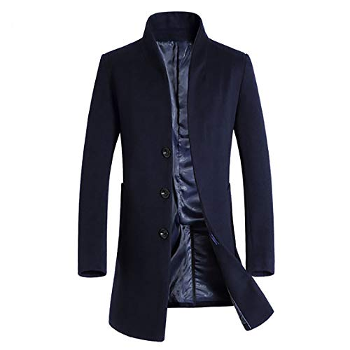 Clearance Forthery Men's Trench Coat Winter Long Jacket Double Breasted Overcoat(Navy, US Size 2XL = Tag 3XL)