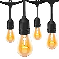 ONO-Tech 48 Ft Outdoor\Indoor String Lights with 24 Hanging sockets and Supplied with 30 Warm White Incandescent Bulbs
